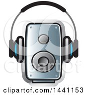 Clipart Of A Pair Of Headphones And A Speaker Royalty Free Vector Illustration by Lal Perera