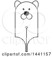 Clipart Of A Black And White Bear Head Pen Nib Royalty Free Vector Illustration by Lal Perera