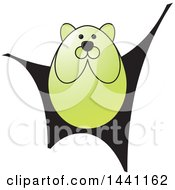 Clipart Of A Green Bear Royalty Free Vector Illustration