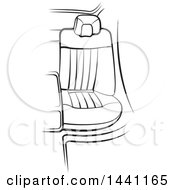 Clipart Of A Black And White Seat In A Car Over Green Strokes Royalty Free Vector Illustration