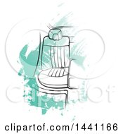 Clipart Of A Seat In A Car Over Green Strokes Royalty Free Vector Illustration