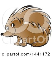 Clipart Of A Happy Hedgehog Royalty Free Vector Illustration by Lal Perera