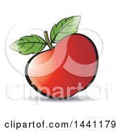 Clipart Of A Red Apple And Leaves Royalty Free Vector Illustration