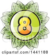 Clipart Of A Green Leaf Number 8 Icon Royalty Free Vector Illustration