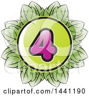 Clipart Of A Green Leaf Number 4 Icon Royalty Free Vector Illustration