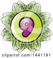 Clipart Of A Green Leaf Number 9 Icon Royalty Free Vector Illustration