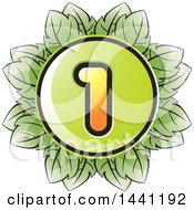 Clipart Of A Green Leaf Number 1 Icon Royalty Free Vector Illustration by Lal Perera