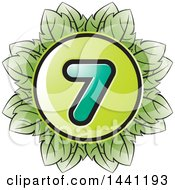Clipart Of A Green Leaf Number 7 Icon Royalty Free Vector Illustration