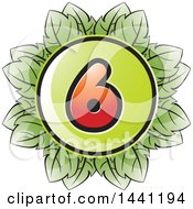 Clipart Of A Green Leaf Number 6 Icon Royalty Free Vector Illustration
