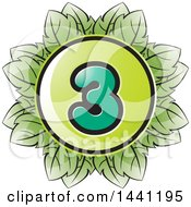 Clipart Of A Green Leaf Number 3 Icon Royalty Free Vector Illustration