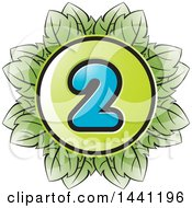 Clipart Of A Green Leaf Number 2 Icon Royalty Free Vector Illustration