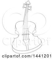 Clipart Of A Black And White Dotted Line Curved Guitar Royalty Free Vector Illustration
