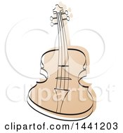 Clipart Of A Curved Guitar And Stylized Coloring Royalty Free Vector Illustration