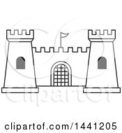 Clipart Of A Black And White Outlined Fortress Royalty Free Vector Illustration