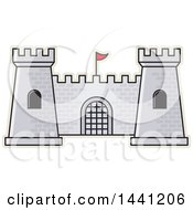 Clipart Of A Gray Brick Fortress Outlined In Tan Royalty Free Vector Illustration by Lal Perera