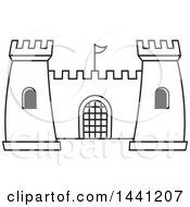 Clipart Of A Black And White Lineart Fortress Royalty Free Vector Illustration