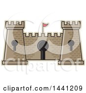 Clipart Of A Brick Fortress With Key Holes Royalty Free Vector Illustration by Lal Perera