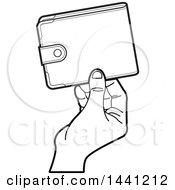 Clipart Of A Black And White Hand Holding A Wallet Royalty Free Vector Illustration