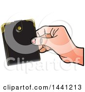 Clipart Of A Hand Holding A Wallet Royalty Free Vector Illustration by Lal Perera