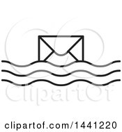 Clipart Of A Black And White Floating Envelope Icon Royalty Free Vector Illustration by Lal Perera