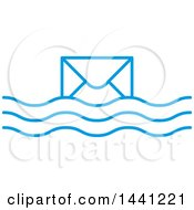 Clipart Of A Blue Floating Envelope Icon Royalty Free Vector Illustration by Lal Perera