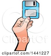 Clipart Of A Hand Holding A Floppy Disk Royalty Free Vector Illustration by Lal Perera