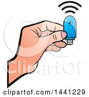 Clipart Of A Hand Holding A Computer Wireless Usb Modem Royalty Free Vector Illustration by Lal Perera