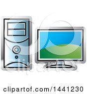 Clipart Of A Desktop Computer Icon Royalty Free Vector Illustration by Lal Perera