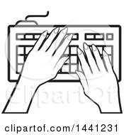 Clipart Of A Black And White Hands Typing On A Computer Keyboard Icon Royalty Free Vector Illustration