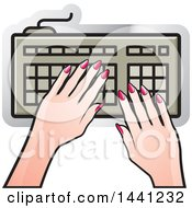 Clipart Of A Hands Typing On A Computer Keyboard Icon Royalty Free Vector Illustration by Lal Perera