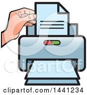 Clipart Of A Hand And Desktop Printer Royalty Free Vector Illustration by Lal Perera