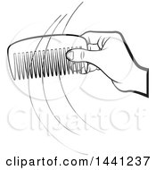 Clipart Of A Black And White Hand Holding A Comb With Strands Of Hair Royalty Free Vector Illustration by Lal Perera