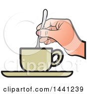 Clipart Of A Hand Stirring A Spoon In A Tea Cup Royalty Free Vector Illustration