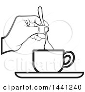 Clipart Of A Black And White Lineart Hand Stirring A Spoon In A Tea Cup Royalty Free Vector Illustration