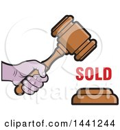 Clipart Of A Hand Banging An Auction Gavel With Sold Text Royalty Free Vector Illustration