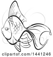 Clipart Of A Black And White Lineart Fancy Goldfish Royalty Free Vector Illustration by Lal Perera