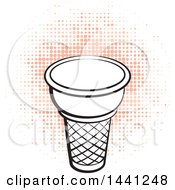 Clipart Of A Black And White Waffle Cone Over Orange Halftone Royalty Free Vector Illustration by Lal Perera