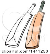 Clipart Of A Cricket Bat In Color And Black And White Royalty Free Vector Illustration
