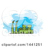 Clipart Of A Green Factory And Blue Strokes Royalty Free Vector Illustration by Lal Perera
