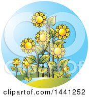 Clipart Of A Sunflower And Sunshine Circle Royalty Free Vector Illustration