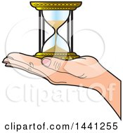 Clipart Of A Hand Holding An Hourglass Royalty Free Vector Illustration by Lal Perera