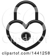 Clipart Of A Grayscale Heart Shaped Padlock Royalty Free Vector Illustration
