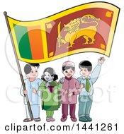 Clipart Of A Group Of Children With A Sri Lankan Flag Royalty Free Vector Illustration