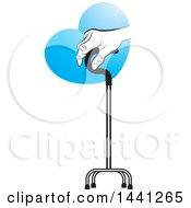 Clipart Of A Senior Hand Holding Onto A Walking Stick With A Blue Heart Royalty Free Vector Illustration by Lal Perera