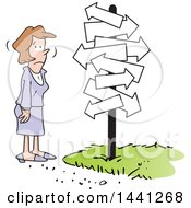 Cartoon Business Woman Stuck At A Fork In The Road Looking Up At Arrow Signs
