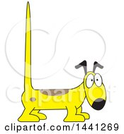 Clipart Of A Cartoon Yellow Dog With A Long Tall Tail Royalty Free Vector Illustration