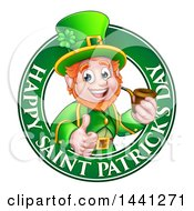 Clipart Of A Cartoon Friendly Leprechaun Giving A Thumb Up And Smoking A Pipe In A Happy Saint Patricks Day Greeting Circle Royalty Free Vector Illustration