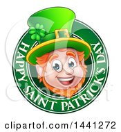 Clipart Of A Cartoon Friendly Leprechaun Face In A Happy Saint Patricks Day Greeting Circle Royalty Free Vector Illustration