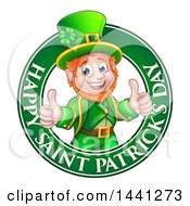 Clipart Of A Cartoon Friendly Leprechaun Giving Two Thumbs Up In A Happy Saint Patricks Day Greeting Circle Royalty Free Vector Illustration