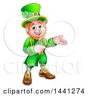 Clipart Of A Cartoon Friendly St Patricks Day Leprechaun Presenting And Pointing Royalty Free Vector Illustration by AtStockIllustration